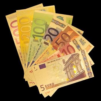 Gold Banknote Euro 5.10.20.50.100.200.500 ECU Replica Money Banknote Collection