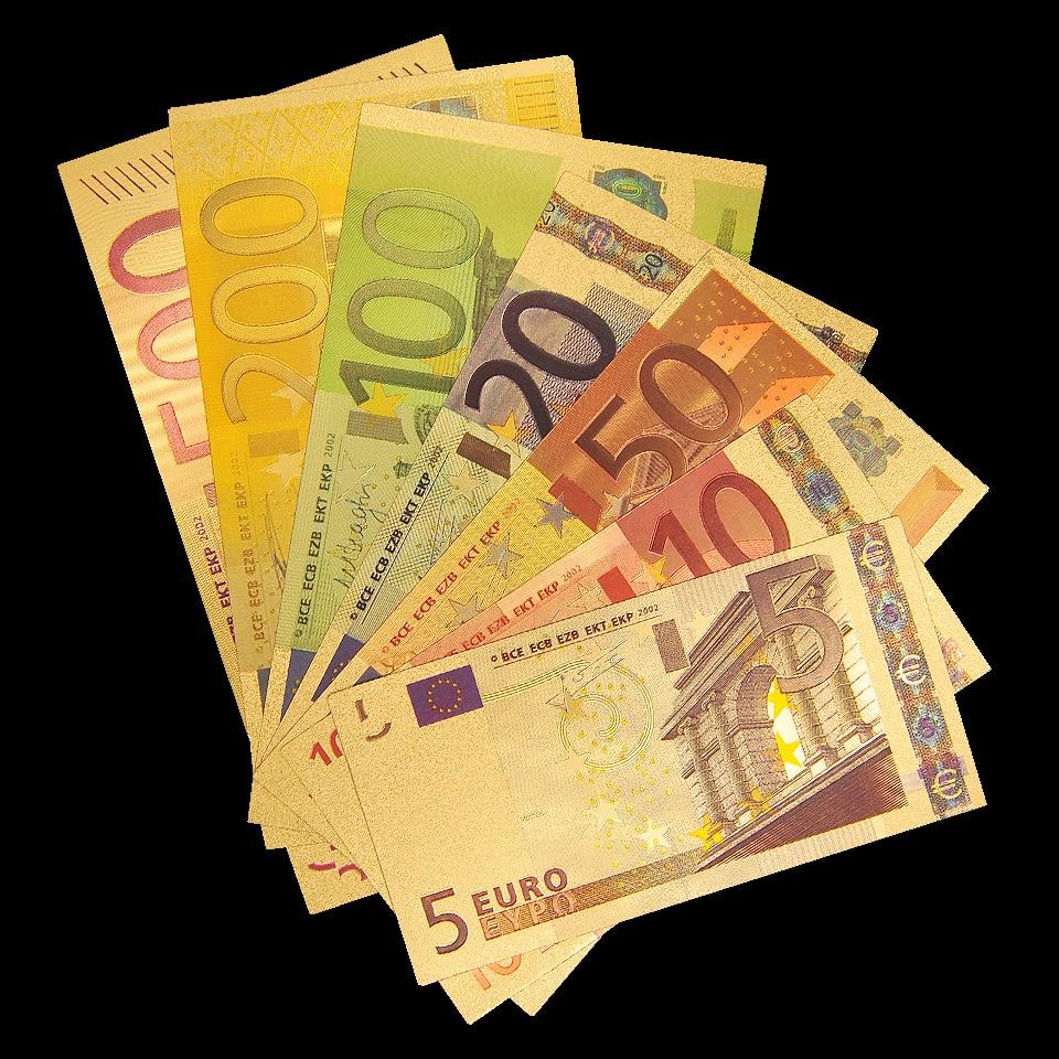 Notas de ouro euro 5.10.20.50.100.200.500 ecu réplica dinheiro coleção de notas