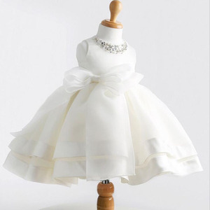 Vestidos de verano para bebés y niñas 1er cumpleaños fiesta y boda encaje bonito lazo blanco vestido de princesa infantil para recién nacidos ropa BC1331-1