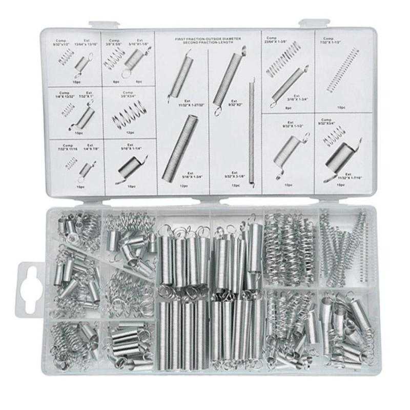 200pcs Durable Zinc Plated Compression Extension Springs Metal Skillful Manufacture Assortment Hardware Kits Accessory