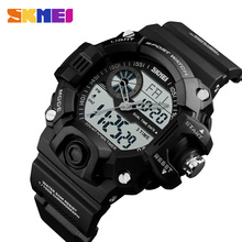 SKMEI Men Sports 3 Time Chrono Watches Alarm EL Backlight Date Week Casual Watch Waterproof 12/24 Hour Count Down Wristwatches