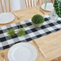 Förderung! 14X108 Zoll Buffalo Überprüfen Tisch Läufer Baumwolle Polyester Mischung Handgemachte Schwarze und Weiße Plaid für Familie Abendessen  aus|Tischläufer|Heim und Garten -