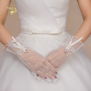White 1 Pair of Short Wedding Gloves Full Fingers Bridal for Women Beaded Lace Bride Party Accessories