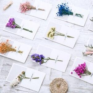 Image 5 - 10pcs Gypsophila fiori secchi scritto a mano benedizione biglietto di auguri di carta regalo di compleanno inviti di nozze