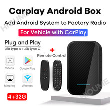AI Box CarPlay Android System, Car Multimedia Player, Plug and Play, Android 9.0 4G RAM 32G ROM GPS WIFI Mirror-Link Phone Cast