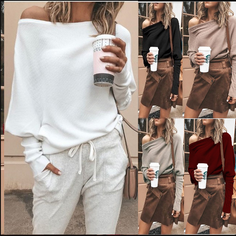 Fashion Women Full Sleeve Sweater Autumn Sexy Loose Cotton Blend Pullover One Shoulder Breathable Knit Sweater Jumper Top