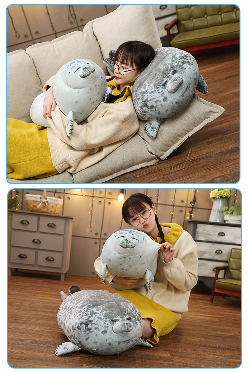 High Quality 80cm Sea Lion Toy 3D Novelty Throw Pillow Soft Seal Plush Stuffed House warming Party Hold Pillow 2