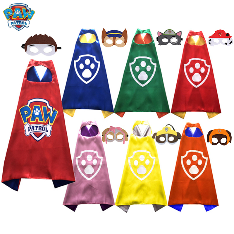 Paw Patrol Children's Mask Cloak Toys Set Cartoon Anime Puppy Patrol Cloak Halloween Stage Costume Cosplay Toys Gift