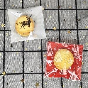 100 шт. рождественские пластиковые пакеты, сувениры для свадьбы, дня рождения, пакеты для упаковки печенья, конфет, подарков, самостоятельные сумки с Санта-Клаусом