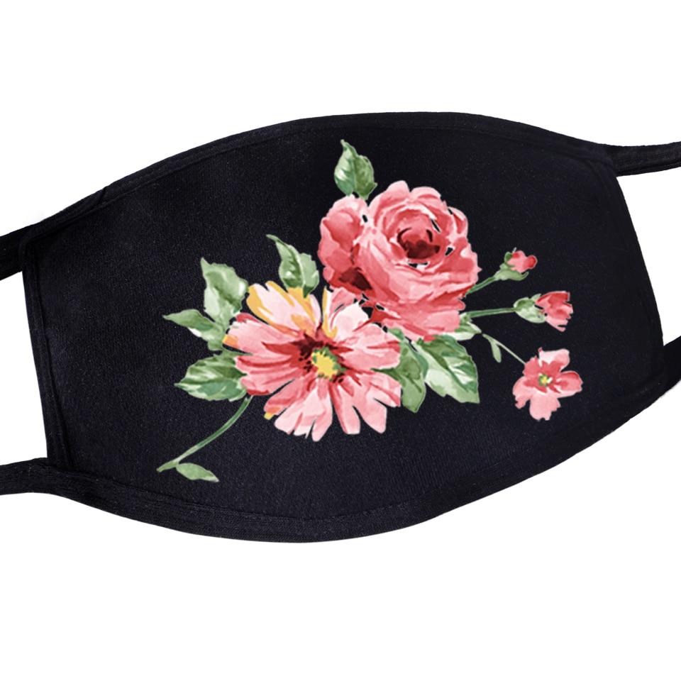 2020 Newest Anime Beautiful Flower Print Reusable Face Mask Pattern For Womens Dustproof Girls Anti Dust Mouth Masks Kpop Masker