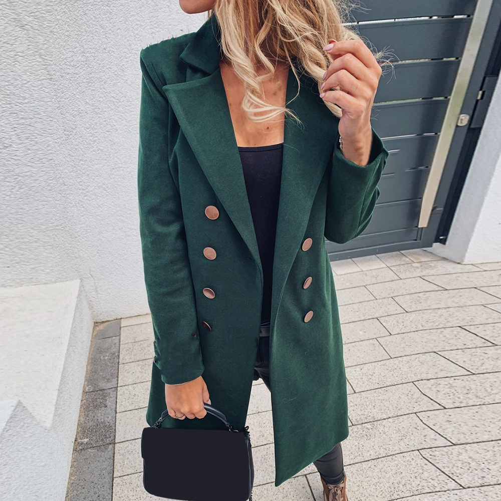 2020 Autumn Women's Jacket Fashion Solid Color Coats Basic Essential Double-Breasted Tops New Mid-Long Wool Blend Pea Coat tops