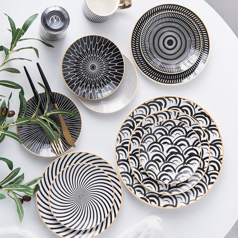 1PC vaisselle Phnom Penh géométrie vaisselle 6/8/10 pouces en céramique assiette à dîner plat porcelaine Dessert assiette vaisselle assiette à gâteau
