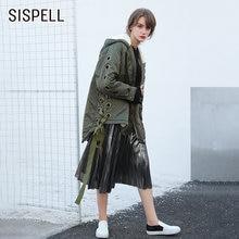 Женская парка на шнуровке sispell теплая куртка пуховик с капюшоном