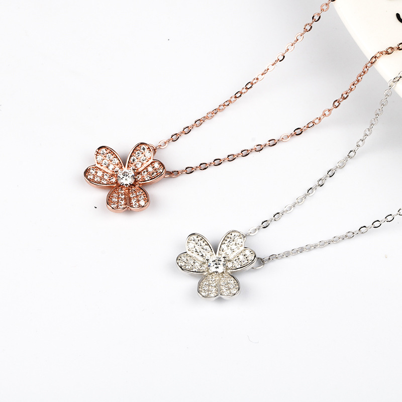 WKOUD EAM Women Charm Jewelry 19 New Pendant Necklace Female Fashion Accessories Party Gift Petal Pure Silver Choker ZJ041 6