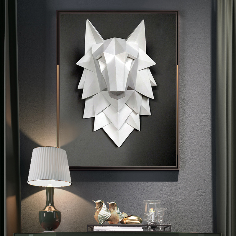 Home Decoration Accessories Wolf Head Sculpture Wall Hang Decor Nordic 3D Statue Living Room Mural Creative Bar Cafe Art Craft