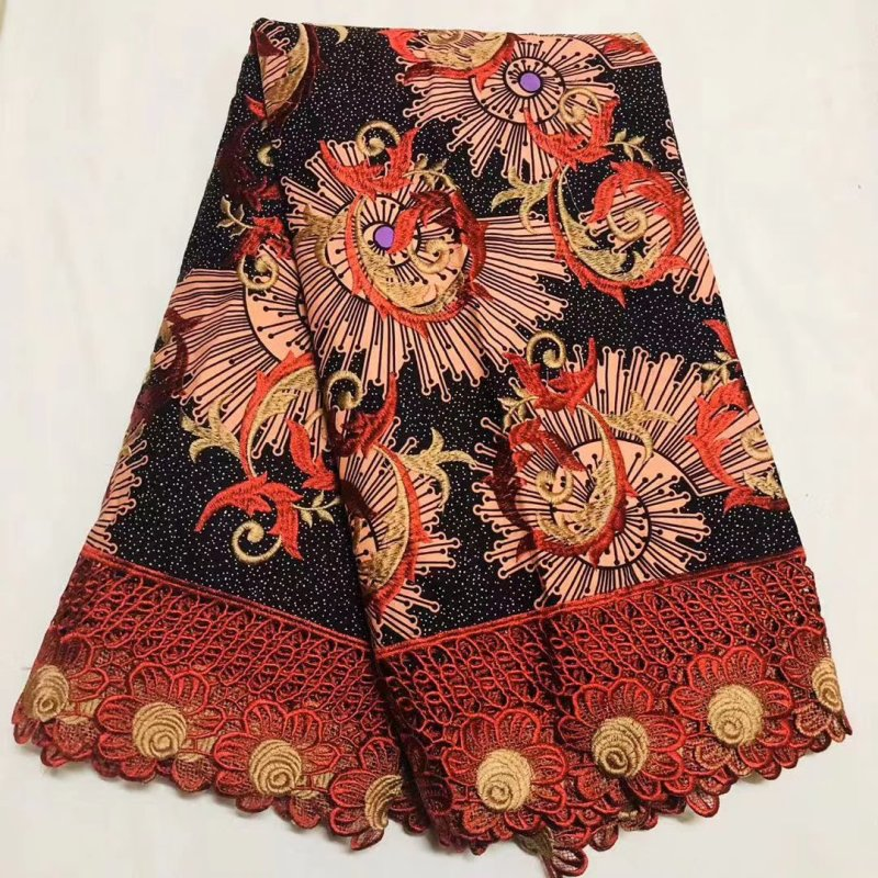 Embroideried African Ankara Lace Wax Fabric High Quality 100% Cotton Wax Pange Africain Nigerian Prints Wax With Guipure Lace