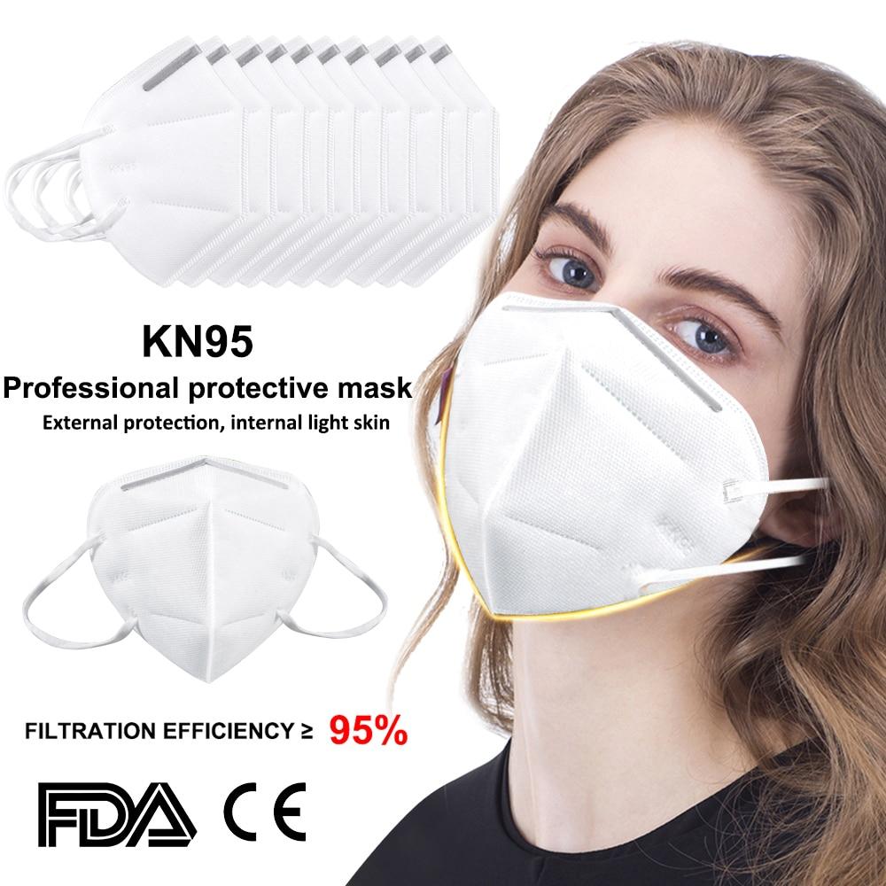 Hot Sale KN95 Masks 95% Filtration Breathing Mask Dustproof Anti-fog Disposable Anti PM2.5 Face Masks Anti-Epidemic Supplies