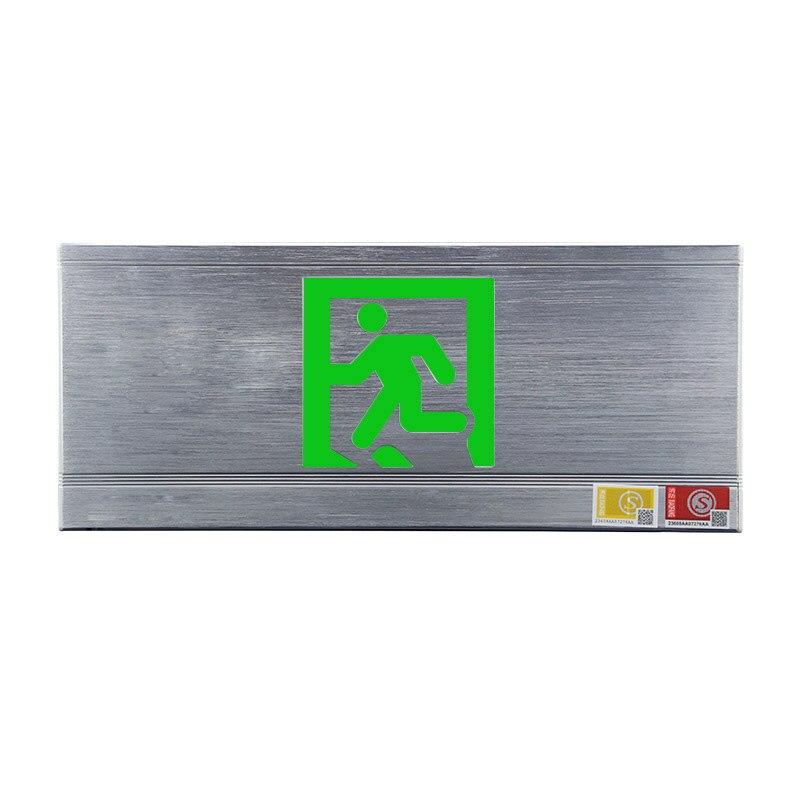 Fuoco Uscita di Sicurezza Segno di Luce Singolo a Parete In lega di Alluminio Spazzolato Pannello Di Emergenza Passaggio indicatore di Evacuazione