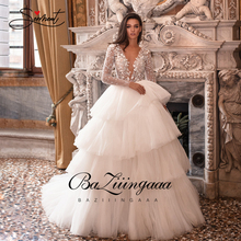 BAZIIINGAAAหรูหราชุดแขนยาวVคอลูกไม้Ruffleงานแต่งงานชุดหรูหราลูกปัดเจ้าสาวสนับสนุนTailor Made