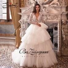 BAZIIINGAAA יוקרה חתונה שמלת שרוול ארוך V צוואר תחרה לפרוע חתונת שמלת יוקרה חרוזים הכלה תמיכה תפור