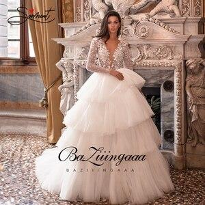 Image 1 - BAZIIINGAAA роскошное свадебное платье с длинным рукавом и v образным вырезом, гофрированное свадебное платье, свадебное платье, роскошное вышитое бисером платье для невесты