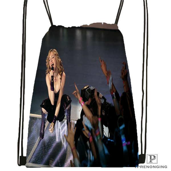 Custom Madonna-on-stage- Drawstring Backpack Bag Cute Daypack Kids Satchel (Black Back) 31x40cm#2018612-01-17