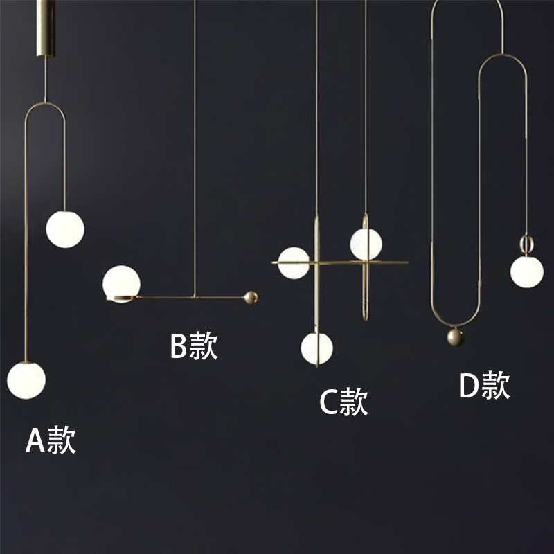 Minimalist Line A Chandelier Post Modern Designer Restaurant Bar Café Personality Bar Counter Glass Sphere Lamps And Lanterns