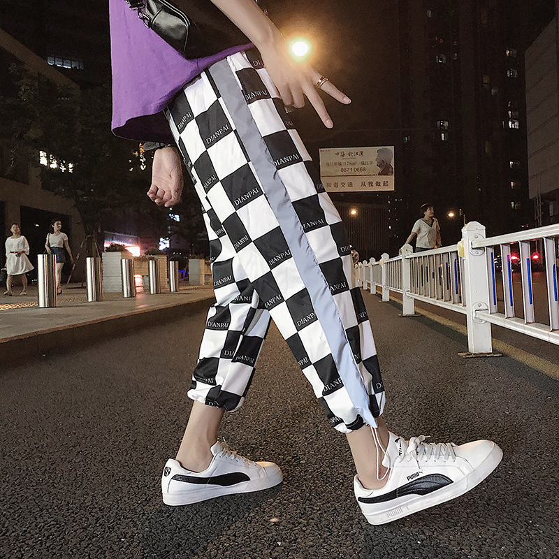 Autumn New Style Pants Trend Loose-Fit Athletic Pants Men's National Trends INS Casual Reflective Ankle Banded Pants Casual Pant