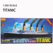 1:550 RMS zestaw klocków Titanic montaż plastikowy Model statku z silnikiem elektrycznym urządzenie oświetleniowe elektryczna zabawka Titanic