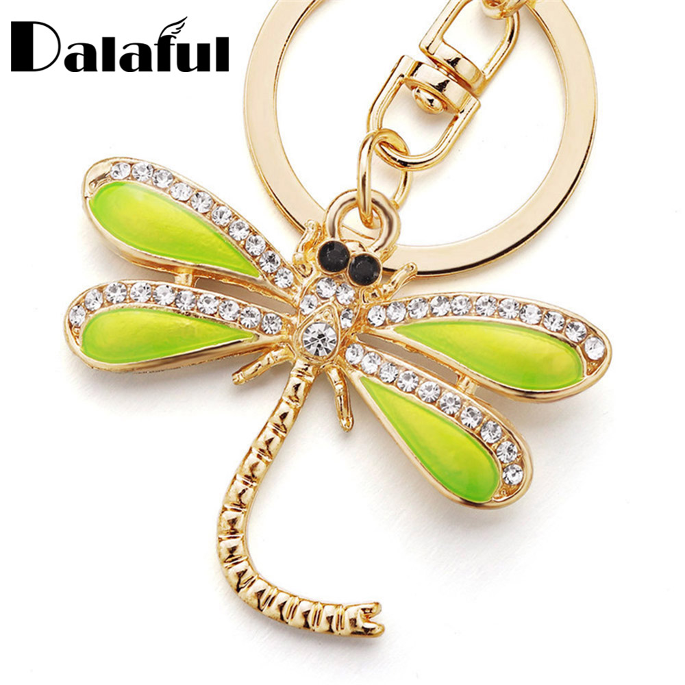 Dalaful Dragonfly Keyrings KeyChains For Car Crystal Bag Pendant For Women Green Enamel Insect Key Chains Rings Holder K268