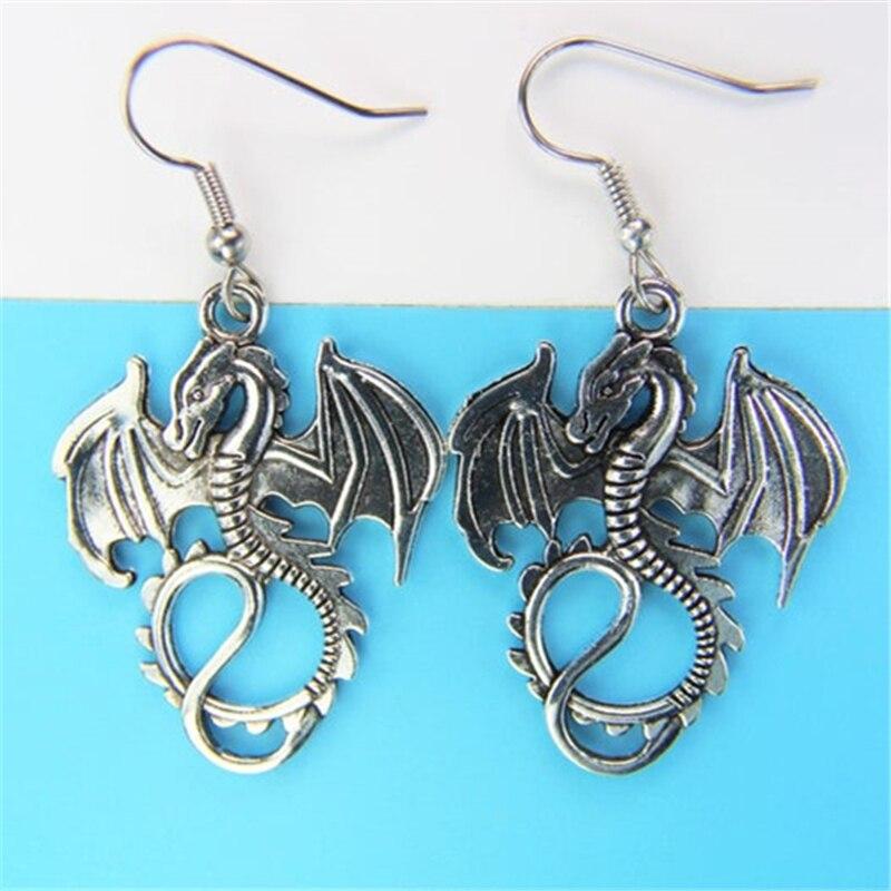 Ejderha küpe ejderha hediye hayvan hediye ejderha takı Dragonfly Charm serin küpe, büyük küpe kadın için
