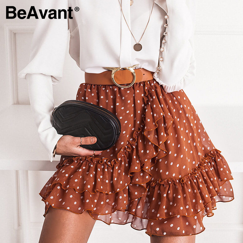 BeAvant Polka Dot Print Mini Skirts Women 2020 High Waist Ruffles Casual Boho Skirts Ladies Summer Short Skirt Holiday Feminine