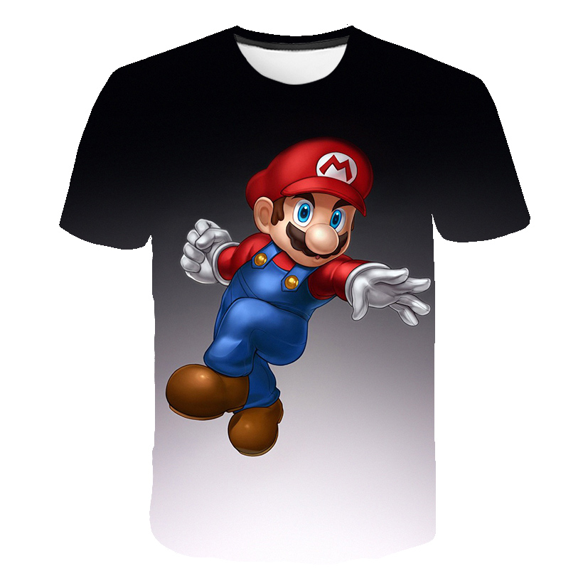 Cute Super Mario Bros. Kids T-shirt Mix Simple Patchwork T-shirts With Boy And Girl Crew Neck Tops