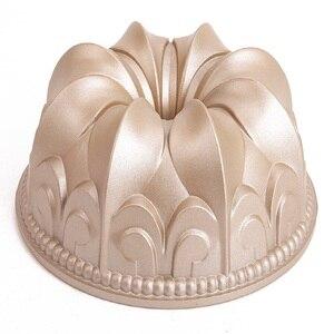Антипригарная форма для торта с золотыми лилиями, пустотелая форма для торта, литая алюминиевая форма для выпечки, сковорода для торта, мини...