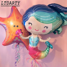 2pcs new starfish q version mermaid foil balloon children's day party decoration princess croquet(China)