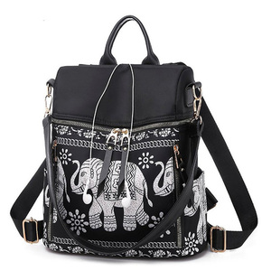 Image 1 - Fashion Anti theft Women Elephant Print Backpacks Ladies Large Capacity Shoulder Bags Waterproof Oxford and PU School Travel Bag