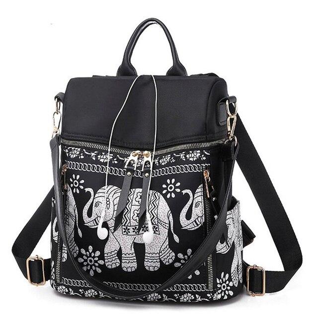 ファッション盗難防止女性象プリントバックパック女性大容量のショルダーバッグ防水オックスフォードとpuスクール旅行バッグ