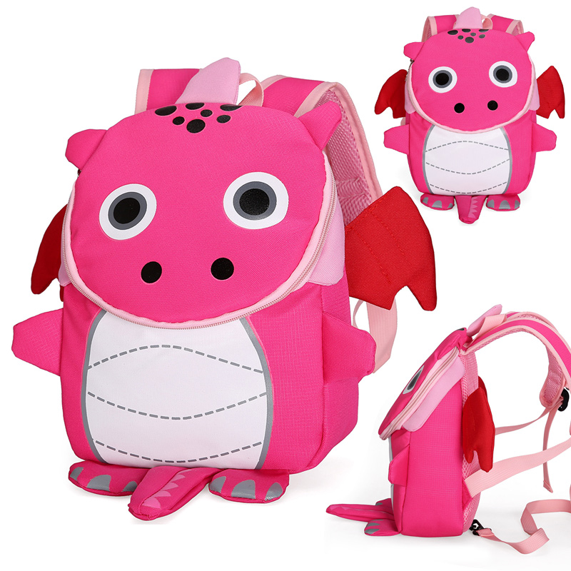 Rose Dragon School Backpack For Children Cute 3D Dinosaur Design Kids School Bags Boys Girls Schoolbag Plecak Szkolny
