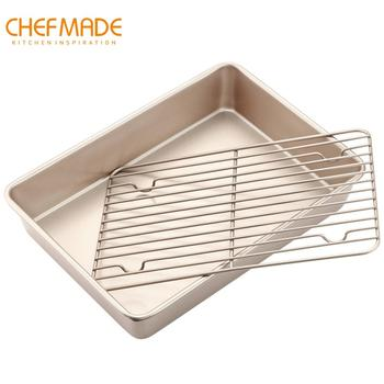 CHEFMADE 13-Inch Roasting Pan with Rack,Non-Stick Bread and BBQ Pan,FDA Approved for Kitchen Oven Baking
