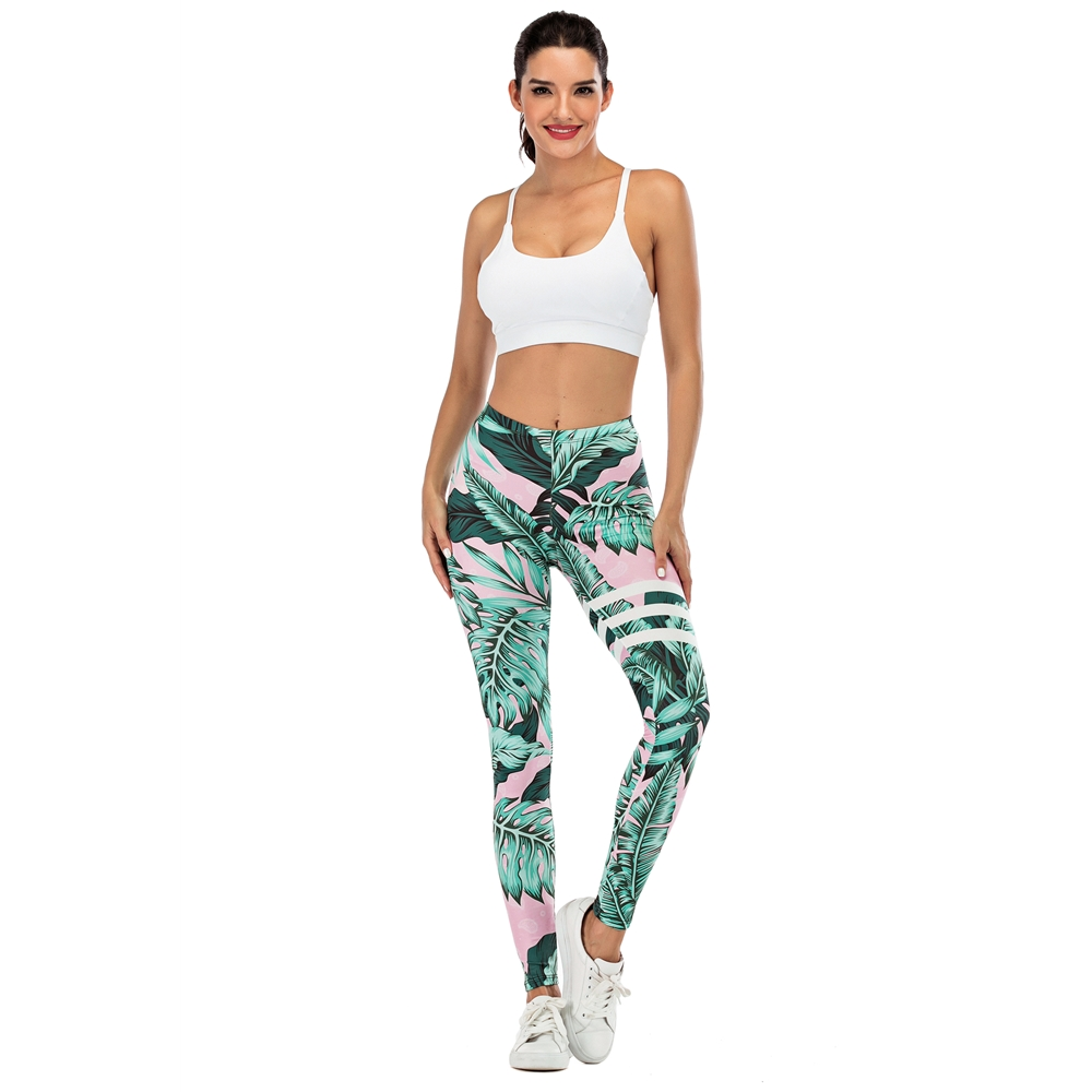Brand Sexy Women Legging leaf Printing Fitness leggins Fashion Slim legins High Waist Leggings Woman Pants 2