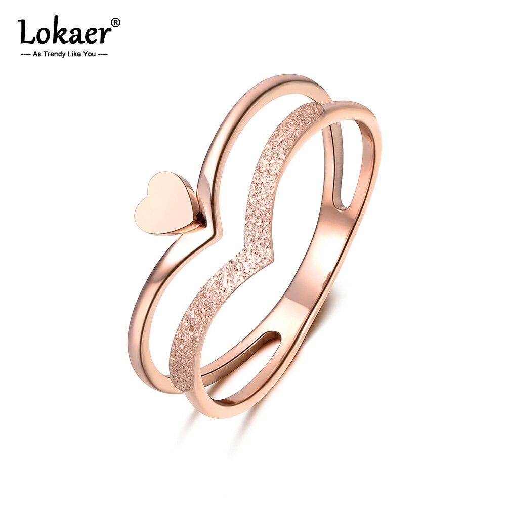 Lokaer kalp şeklinde taç Molde yüzük gül altın renk paslanmaz çelik takı hediye kadınlar için R18140