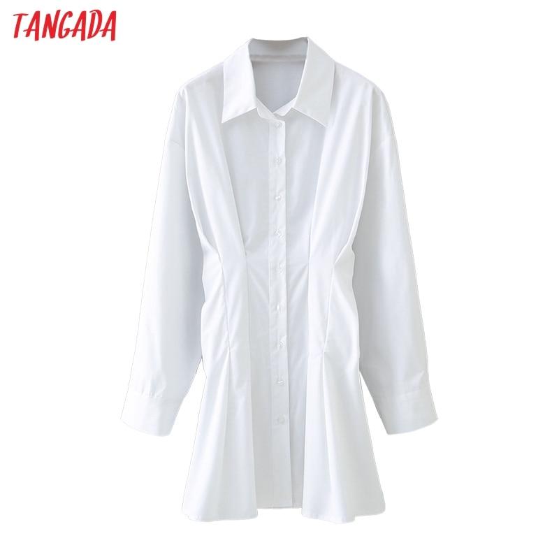 Tangada-túnica plisada blanca para mujer, blusa lisa de manga larga con cuello vuelto, blusa elegante de Ropa de Trabajo para oficina 5X19