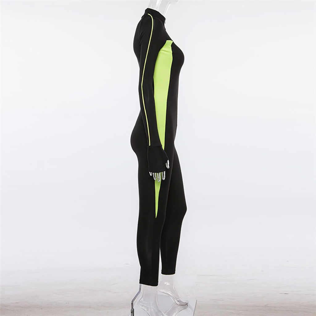 נשים גבירותיי חליפת ספורט ארוך שרוול אימון כושר חדר כושר חותלות סרבל אופנה מזדמן ספורט יוגה כושר ללבוש בגדים # g4