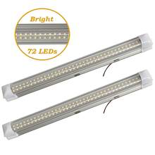 2 x 4.5W 72LED white car interior light strip indoor lamp cabin light truck room lamp with 2 sticker tape switch(China)