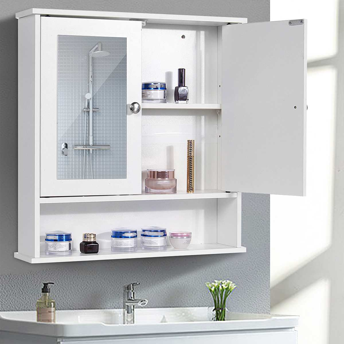 Bathroom Cabinet 58x56x13cm Wall Mounted Bathroom Toilet Furniture Cabinet Wood-Plastic Cupboard Shelf Cosmetic Storage Rack