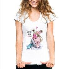 Maycaur Harajuku Mama TShirt Super Mom Women T Shirt Mother's Love Print White T