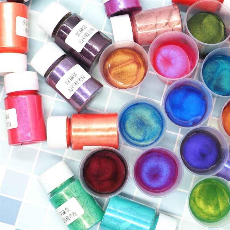 Novo 10 grama 22 cores aurora pérola pigmento em pó mica perolado corantes de resina corante jóias fazendo