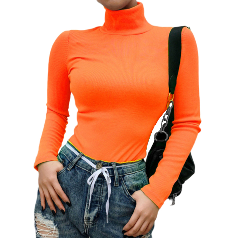Neon Green Women Knit Shirts Ribbed Turtleneck Sweaters Long Sleeve Top Jumpers High Neck Winter Autumn Pullovers Elastic M0243