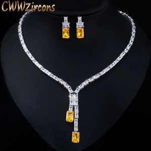 Image 1 - CWWZircons Dazzling African Cubic Zircon Womens Wedding Necklace Jewellery Set Bridal Party Costume Jewelry Accessories T374
