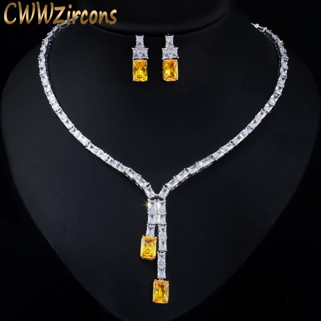 CWWZircons Dazzling African Cubic Zircon Womens Wedding Necklace Jewellery Set Bridal Party Costume Jewelry Accessories T374